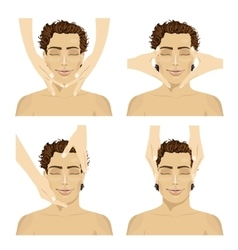 Young man in spa salon getting facial massage vector