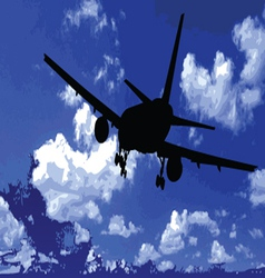 airplane in the blue sky vector image