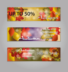 autumn sale text banners for september or october vector image