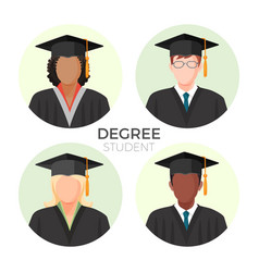 degree student faceless avatars males and female vector image