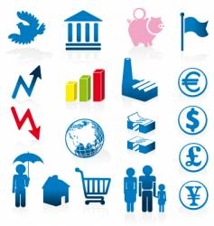economy icons vector image vector image