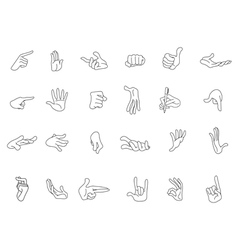 outlined hand gestures vector image vector image
