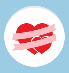 Pink Ribbon With Couple Heart vector image