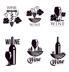 Set of elegant wine logo templates vector image