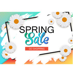 spring sale banner with flowers and frame vector image vector image