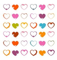 Grunge Heart Symbols Set Isolated on White vector image vector image