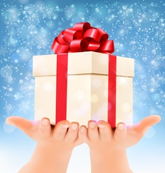 Holiday christmas background with hands holding vector image vector image