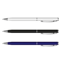 pen white blue black vector image