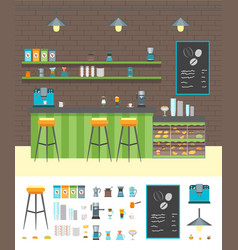 cartoon coffee shop design interior and element vector image