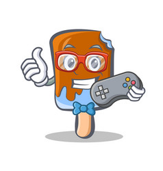 gamer ice cream character cartoon vector image