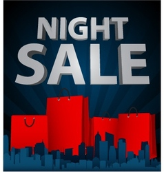 Night sale with shopping bag in city vector image vector image