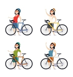 Set of cyclist women vector image vector image