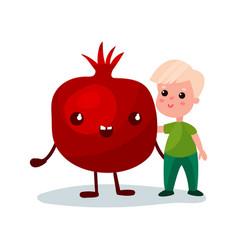 sweet little boy hugging giant pomegranate fruit vector image vector image