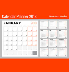 calendar planner for 2018 year week starts on vector image