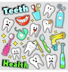 Funny Teeth and Dentistry Elements Stickers vector image vector image