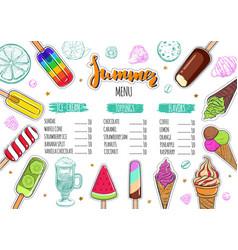 summer ice cream menu 1 vector image
