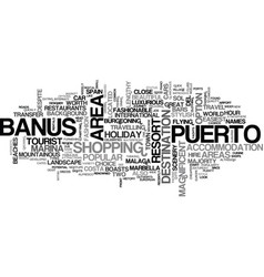 A tourist guide to puerto banus text word cloud vector