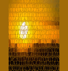 Abstract drawing stained glass sundown vector