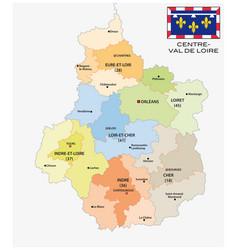administrative map centre val de loire with flag vector image