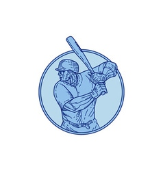 Baseball Player Batter Batting Circle Mono Line vector image