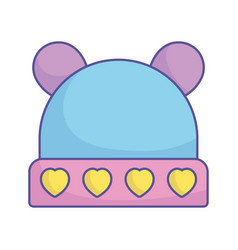 Bashower warm hat with hearts and ears icon vector