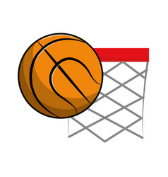Basketball and basket with the ball icon vector