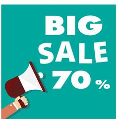 Big sale 70 megaphone green background ima vector