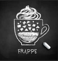 black and white sketch of frappe coffee vector image
