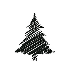 black drawing pine tree christmas decoration vector image