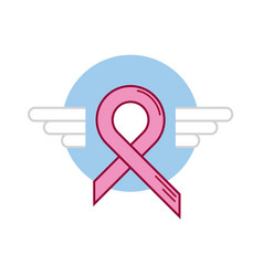 Blue ribbon breast cancer wing vector
