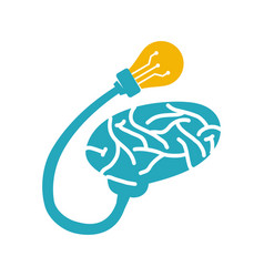 brain logo template think idea concept brainstorm vector image