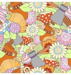 Breakfast theme seamless pattern with coffee vector