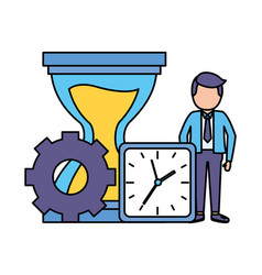 businessman clock hourglass time vector image