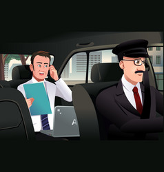Businessman talking on the phone in a car vector