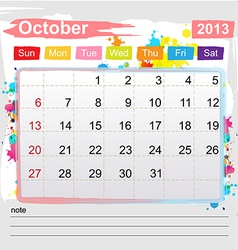 Calendar October 2013 vector image