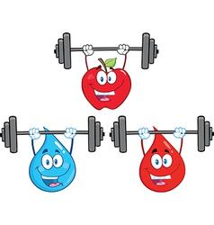 Cartoon characters lifting weights vector