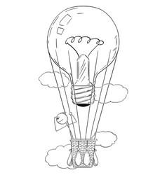 cartoon man or businessman flying on hot air vector image