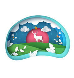 cartoon paper landscape deer vector image