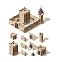castles isometric creation kit medieval vector image