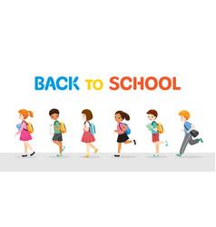Children running and walking back to school in row vector