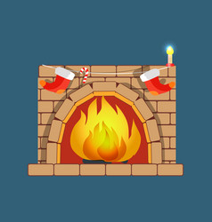 christmas fireplace poster vector image