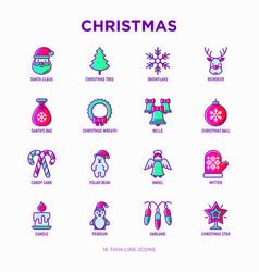 christmas thin line icons set santa claus vector image