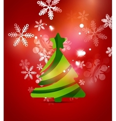 Christmas tree red shiny abstract background vector image