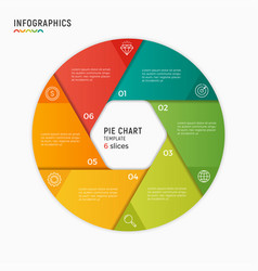 circle chart infographic template 6 vector image