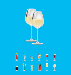closeup champagne and white wine in glasses vector image
