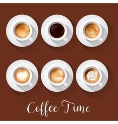 Coffee cups with american latte espresso vector