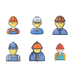 construction worker icon set cartoon style vector image