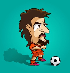 Cross ones arm football cartoon orange shirt vector