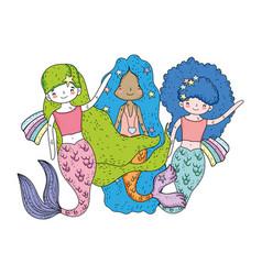cute mermaids fairy tales characters vector image