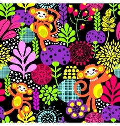 Cute monkey seamless texture with flowers vector image